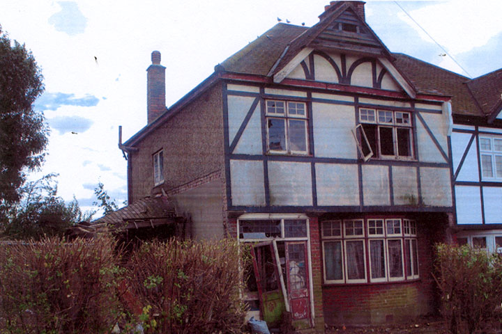 house front, before